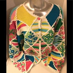 Vintage Lilly Pulitzer Patchwork Cotton Sweater
